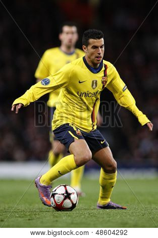 LONDON, ENGLAND. 31/03/2010. Barcelona player Pedro Rodriguez in action during the UEFA Champions League quarter-final between Arsenal and Barcelona at the Emirates Stadium