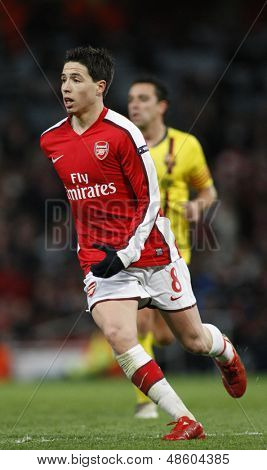 LONDON, ENGLAND. 31/03/2010. Arsenal player Samir Nasri in action during the  UEFA Champions League quarter-final between Arsenal and Barcelona at the Emirates Stadium