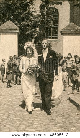 RYCHTAL, POLAND, CIRCA 1946: Vintage photo of newlyweds, Rychtal, Poland, circa 1946
