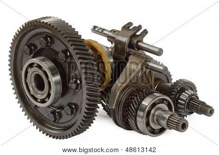 Pinions And Differential  From  Gearbox, Isolated On White Background