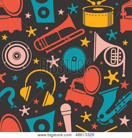 Abstract seamless pattern with musical instrument.