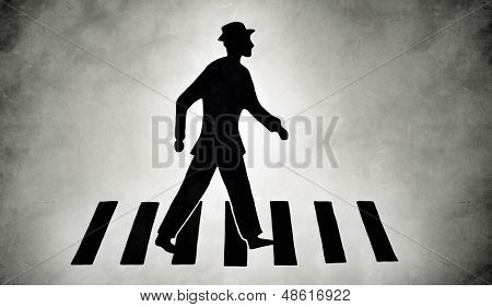 stylized pedestrian on zebra crossing street