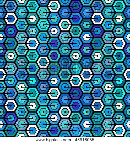 Seamless geometric pattern with hexagons
