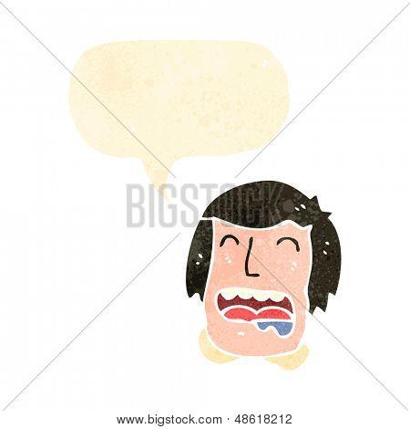 retro cartoon drooling man with speech bubble