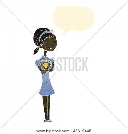 retro cartoon skinny student girl with books