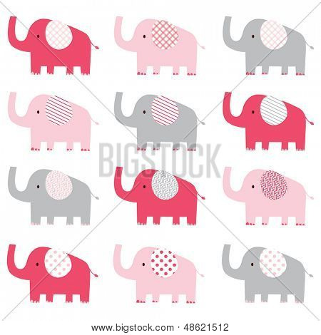 Cute Pink Elephant pattern