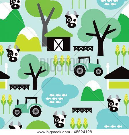 Nahtlose Bauernhof Tier Kuh und Traktor Kinder Abbildung dekorative Hintergrundmuster in Vektor