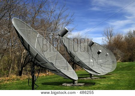 Row Of Large Satellite Dishes