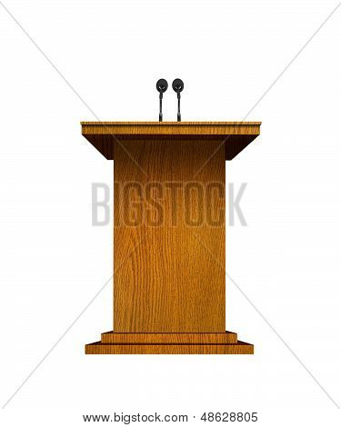 Podium and microphones over white