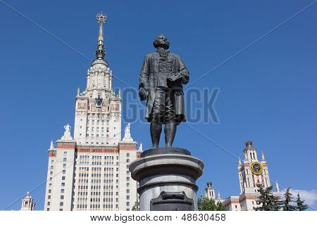 MOSCOW - JUNE 21. The Statue of M. Lomonosov in front of Moscow State University on June 21, 2012