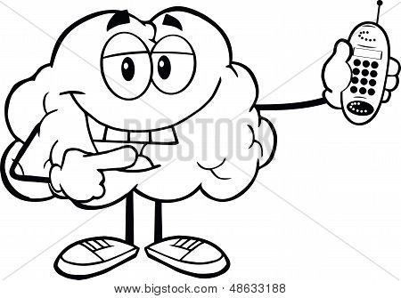 Outlined Brain Character Holding A Mobile Phone