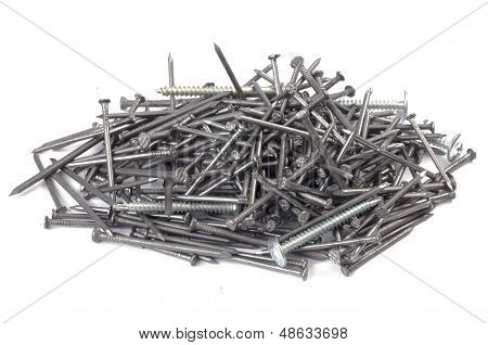 A Pile Of Nails And Screws