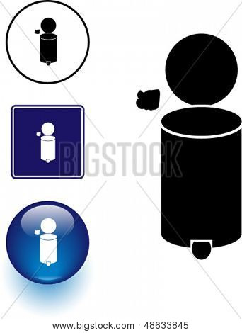 trash container symbol sign and button
