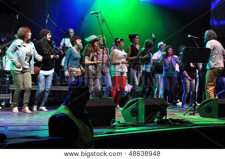 Emir Kusturica and the No Smoking Orchestra from Serbia performs live on the stage