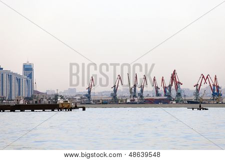 Derricks on an oil field in Baku, capital of Azerbaijan.