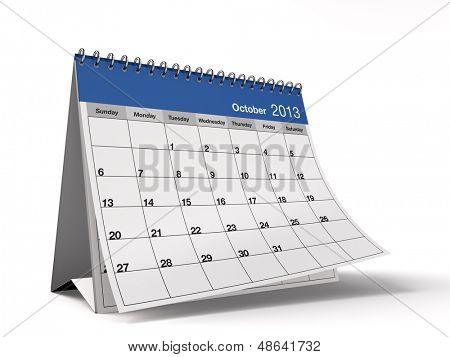 Hi-res 3D folded desktop calendar for October 2013.