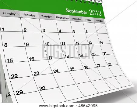Hi-res 3D folded desktop calendar for September 2013.