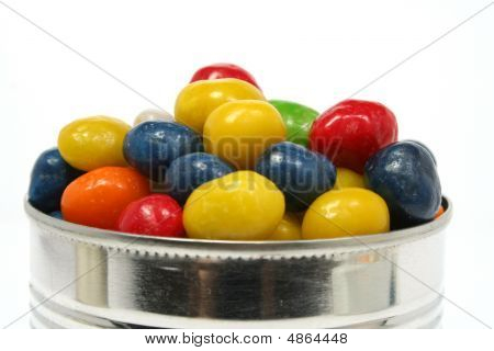 Multi-coloured Sweets With Raisin In Metal Bank 2