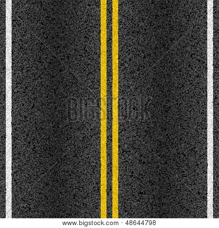 Asphalt road with marking lines. Vector.