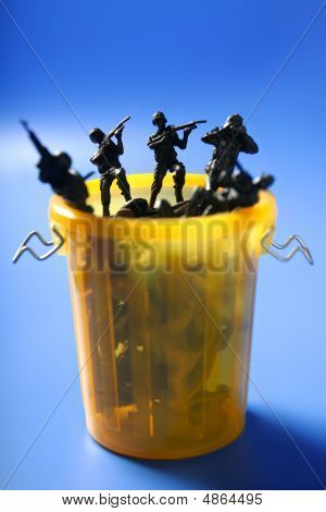 Toy Soldiers Row On The Trash, End Of War Metaphor