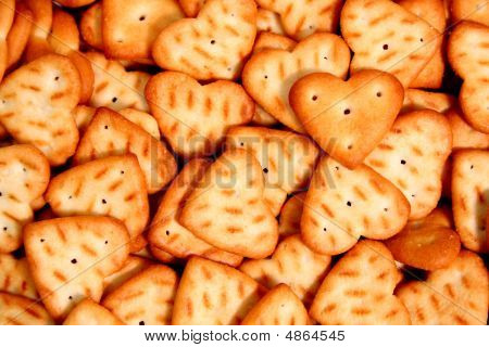 Heart Made Of A Cracker On Others Cookies Background