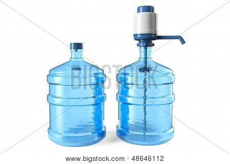 Bottles Of Drinking Water With A Manual Water Pump And Cap