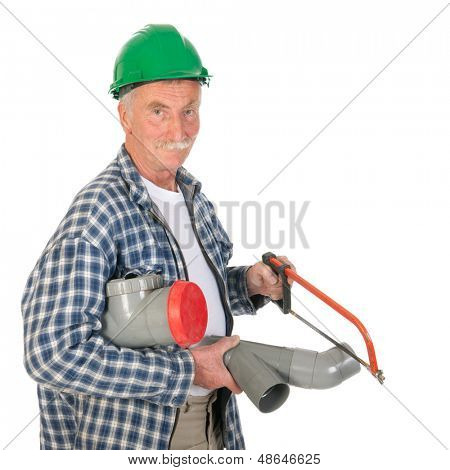 Plumber making sewerage isolated over white background