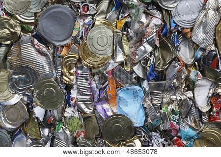 Full frame image of crushed tin cans for recycling