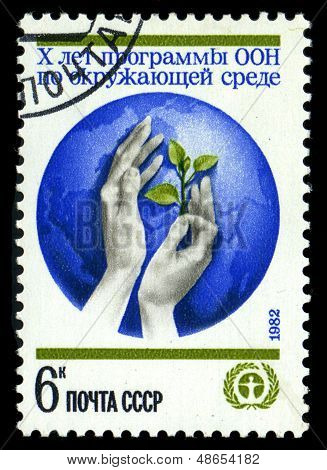 Ussr - Circa 1982: A Stamp Printed By Ussr Shows Feminine Hands And Globe - Symbol Of Un, Human Envi