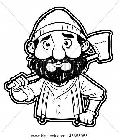 black and white clipart lumberjack