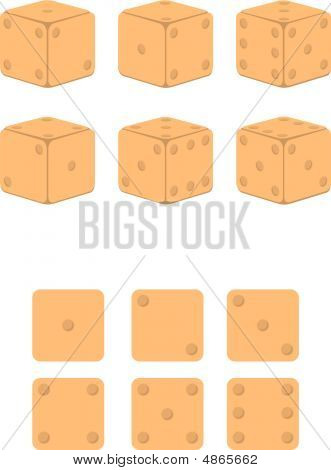 six dice in different combinations