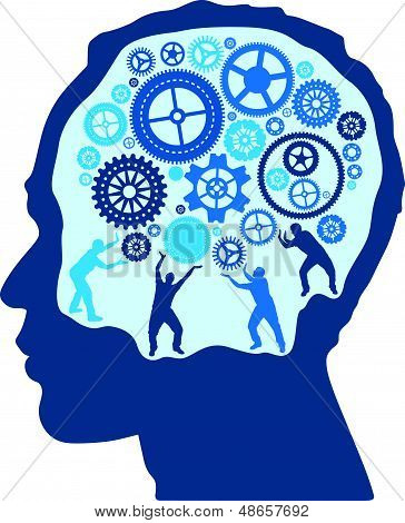 Silhouette Men turning and Pushing Cogs in the Brain