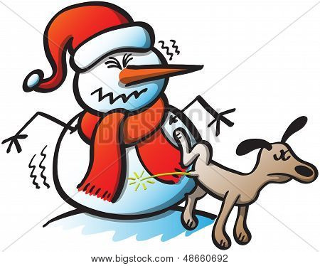 Dog Peeing on a Christmas Snowman