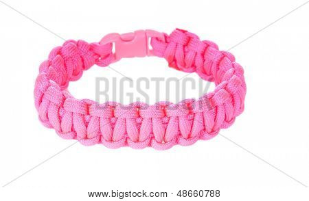 550 Parachute cord (paracord) survival Bracelet using a Cobra weave in pink supporting the Breast cancer cause