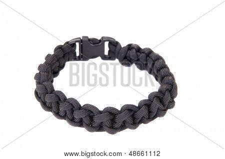 550 Parachute cord (paracord) survival Bracelet using a Cobra weave in black cord