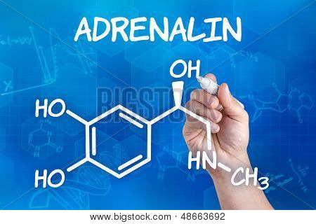 hand with pen drawing the chemical formula of adrenalin