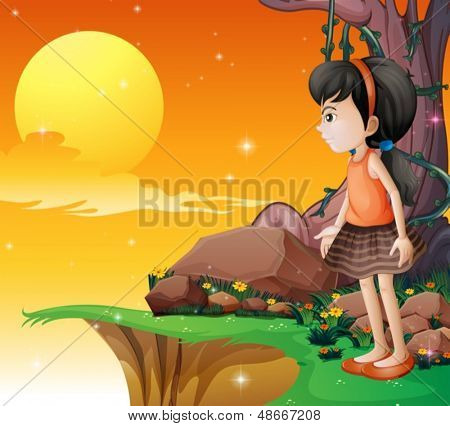 Illustration of a young girl watching the fullmoon at the cliff