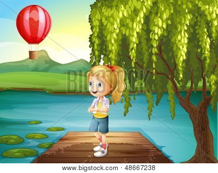 Illustration of a girl standing above the wooden bridge with a hot air balloon nearby