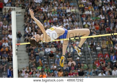 June 14 2009; Berlin Germany. BEITIA Ruth ESP competing in the high jump at the DKB ISTAF 68 International Stadionfest Golden League Athletics competition.