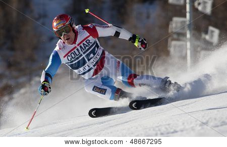 VAL D'ISERE FRANCE. 11-12-2010. CUCHE Didier (SUI)  speeds down the course during  the FIS alpine skiing world cup giant slalom race on the Bellevarde race piste Val D'Isere.