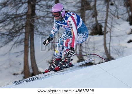 VAL D'ISERE FRANCE. 16-12-2010.  Chelsea Marshall (USA) during the second official training run for the FIS Alpine skiing World Cup downhill race in Val D'Isere France.