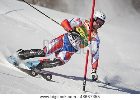 VAL D'ISERE FRANCE. 12-12-2010. TREJBAL Filip CZE attacks a control gate during the FIS alpine skiing world cup slalom race on the Bellevarde race piste Val D'Isere.