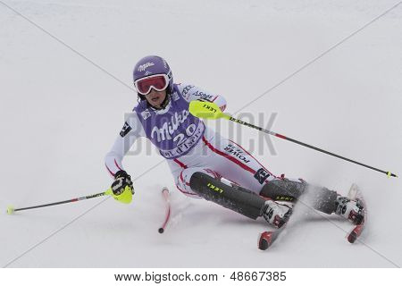 VAL D'ISERE FRANCE. 19-12-2010. Michaela Kirchgasser (AUT) during the Slalom section of the women's Super Combined race at the FIS Alpine skiing World Cup Val D'Isere France.