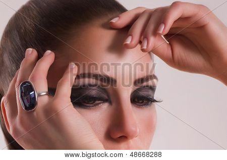Fashion woman with jewelry ring. Fashion portrait