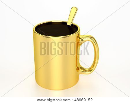 3D Golden Mug With Black Coffee