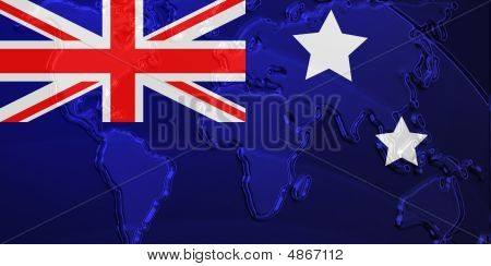Flag Of Australia Metallic Map
