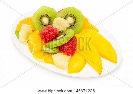 Fruit Salad Isolated On White