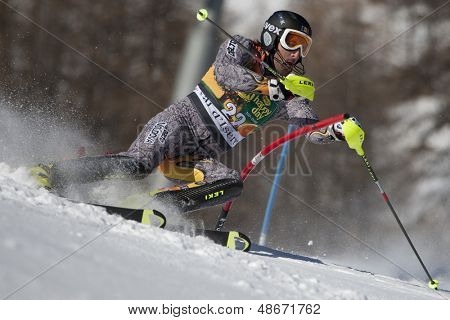 VAL D'ISERE FRANCE. 12-12-2010. IMBODEN Urs MDA attacks a control gate during the FIS alpine skiing world cup slalom race on the Bellevarde race piste Val D'Isere.
