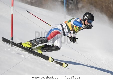 VAL D'ISERE FRANCE. 12-12-2010. KHOROSHILOV Alexander RUS attacks a control gate during the FIS alpine skiing world cup slalom race on the Bellevarde race piste Val D'Isere.