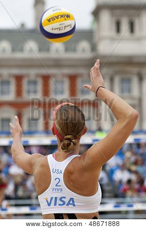 12/08/2011 LONDON, ENGLAND, Lisa Rutledge (USA) during the FIVB International Beach Volleyball tournament, at Horse Guards Parade, Westminster, London.